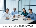 multiracial group of experts... | Shutterstock . vector #1098147842