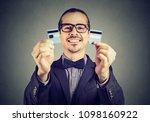happy excited debt free... | Shutterstock . vector #1098160922