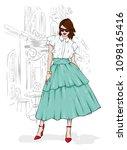 a tall  slender girl in a midi... | Shutterstock .eps vector #1098165416