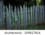 Old Wooden Fence With Lichen...