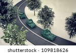 tanks along a road isolated on white background - stock photo