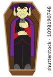a cartoon vampire is lying in... | Shutterstock .eps vector #1098190748