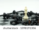 chessboard with a chess piece... | Shutterstock . vector #1098191306