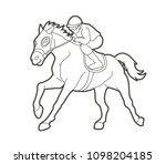 horse racing  jockey riding... | Shutterstock .eps vector #1098204185