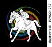 horse racing  jockey riding... | Shutterstock .eps vector #1098204272