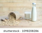 wooden background soy beans in... | Shutterstock . vector #1098208286