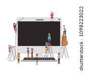 minipeople team working in... | Shutterstock .eps vector #1098223022