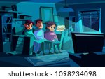family watching night tv vector ... | Shutterstock .eps vector #1098234098