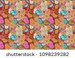 crystal snowflake in beige ... | Shutterstock . vector #1098239282