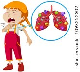 a vector of girl lung infection ... | Shutterstock .eps vector #1098252302