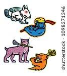 mascot icon illustration set of ... | Shutterstock .eps vector #1098271346