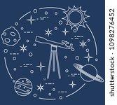 science  telescope  sun  moon ... | Shutterstock .eps vector #1098276452