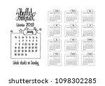2019 calendar for bullet... | Shutterstock .eps vector #1098302285