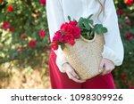 roses in basket. beautiful bush ... | Shutterstock . vector #1098309926