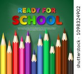 ready for school paper cut... | Shutterstock .eps vector #1098324902