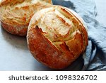 fresh homemade bread on a gray... | Shutterstock . vector #1098326702