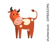 cute brown spotted cow  funny... | Shutterstock .eps vector #1098332396