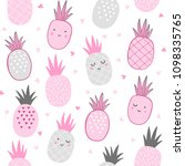 cute pineapple pattern with... | Shutterstock .eps vector #1098335765