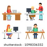 freelancers male and female at... | Shutterstock . vector #1098336332