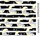 pattern with a bear and a moon   Shutterstock .eps vector #1098342938