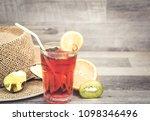 summer holiday cocktail glass | Shutterstock . vector #1098346496