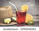 summer holiday cocktail glass | Shutterstock . vector #1098346562