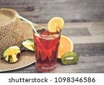 summer holiday cocktail glass | Shutterstock . vector #1098346586