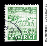 Small photo of MOSCOW, RUSSIA - MAY 10, 2018: A stamp printed in Sweden shows Horses (Equus ferus caballus), Centenary of Swedish Agricultural Show serie, circa 1946
