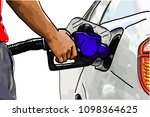hand refilling the car with... | Shutterstock .eps vector #1098364625