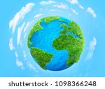 grass planet with clouds 3d... | Shutterstock . vector #1098366248