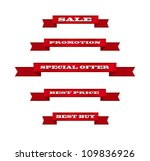red vector ribbon tags... | Shutterstock .eps vector #109836926