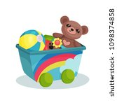 small wagon with rainbow full... | Shutterstock .eps vector #1098374858