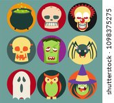 halloween monster set | Shutterstock .eps vector #1098375275