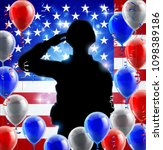 saluting soldier with an... | Shutterstock .eps vector #1098389186