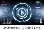 golden bitcoin cryprocurrency... | Shutterstock .eps vector #1098411746