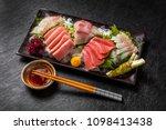 japanese foods sashimi  raw... | Shutterstock . vector #1098413438
