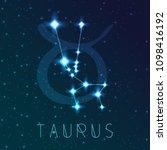 taurus zodiac sign. vector... | Shutterstock .eps vector #1098416192