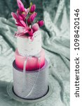 white wedding cake with flowers ... | Shutterstock . vector #1098420146