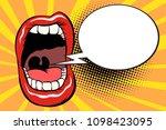 open mouth comic balloon. pop... | Shutterstock .eps vector #1098423095