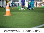 soccer ball tactics on grass... | Shutterstock . vector #1098436892