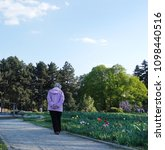 Small photo of Walk in the park in the spring. An elderly woman walks leisurely along the alley along the flowering tulips