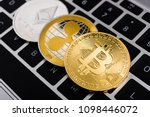 virtual bitcoin  ripple xrp and ... | Shutterstock . vector #1098446072