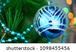 blue baubles on christmas tree. ... | Shutterstock . vector #1098455456