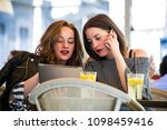 two young and trendy hipster...   Shutterstock . vector #1098459416