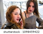 two young and trendy hipster...   Shutterstock . vector #1098459422