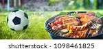 picnic on a meadow with... | Shutterstock . vector #1098461825