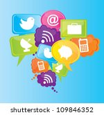 communication icons over blue... | Shutterstock .eps vector #109846352