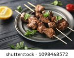 barbecue skewers with juicy... | Shutterstock . vector #1098468572