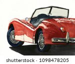 red retro car. watercolor... | Shutterstock . vector #1098478205