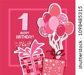 happy first birthday.... | Shutterstock .eps vector #1098485315